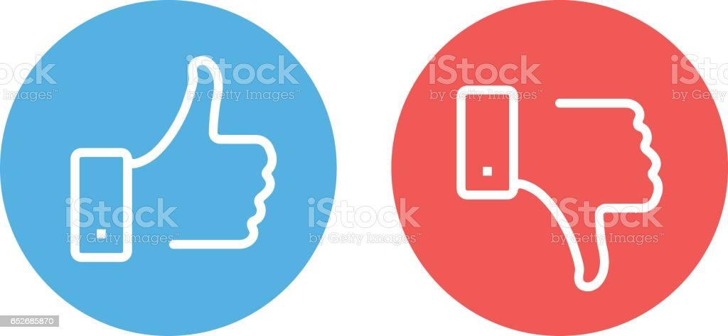 Like and dislike icons set. Thumbs up and thumbs down. Modern vector round thin line icons isolated on white background