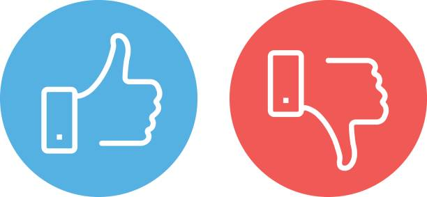 Like and dislike icons set. Thumbs up and thumbs down. Modern vector round thin line icons isolated on white background Like and dislike icons set. Thumbs up and thumbs down. Modern graphic elements for web banners, web sites, printed materials, infographics. Vector round thin line icons isolated on white background like button stock illustrations