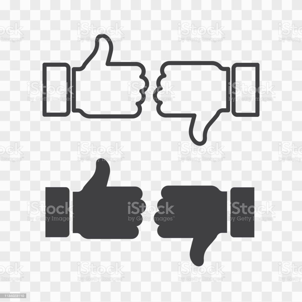 Like and dislike icons set. Thumbs up and thumbs down.