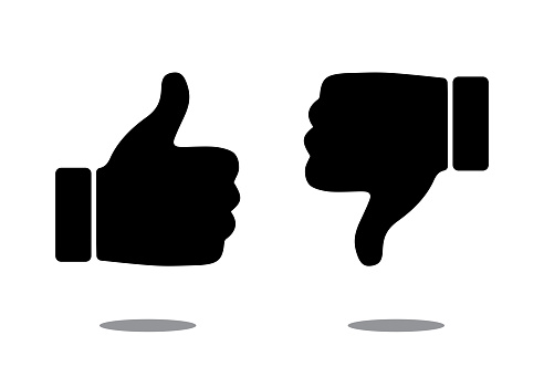 Like (Thumbs Up) and Dislike (Thumbs Down) Icons, Vector Design