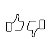 Like and dislike line icons set. Thumbs up and thumbs down. Dislike and like button. Agree, disagree, bad and good emotions. Modern outline elements, stroke graphic design concepts, linear symbols collection. Vector line icons