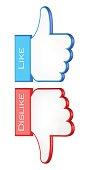 like and dislike symbols. 3d vector illustration
