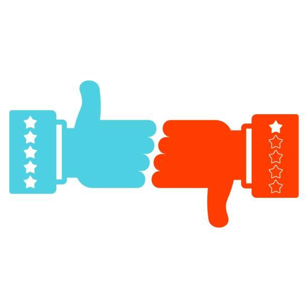 Like and dislike vector sign. vector art illustration