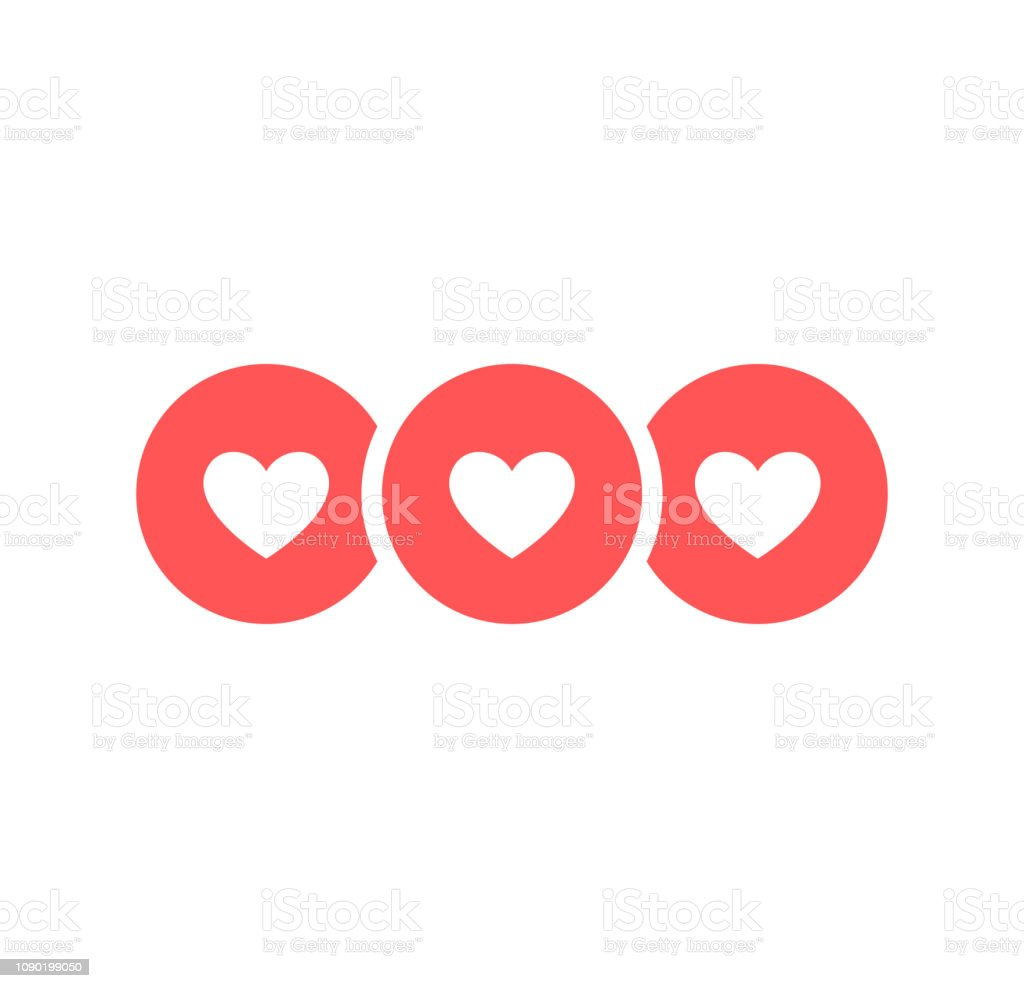 Like and Heart icon. Live stream video, chat, likes. Social nets blue...
