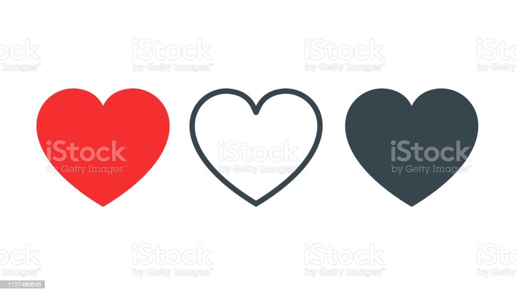 Like and Heart icon. Live stream video, chat, likes. Social nets like red heart web buttons isolated on white background. Vector illustaration - Royalty-free Acordo arte vetorial
