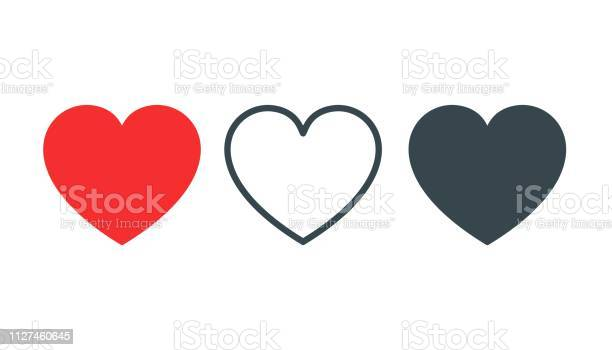 Like And Heart Icon Live Stream Video Chat Likes Social Nets Like Red Heart Web Buttons Isolated On White Background Vector Illustaration - Arte vetorial de stock e mais imagens de Acordo