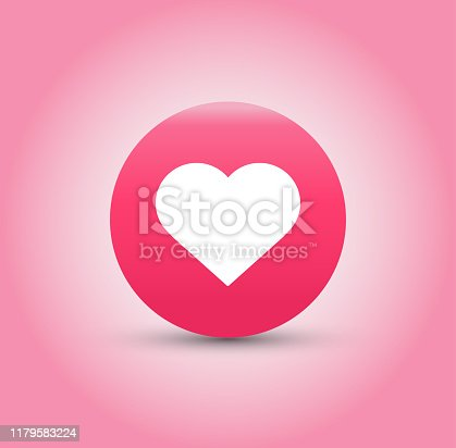 Like and Heart icon on pink background. Vector illustration