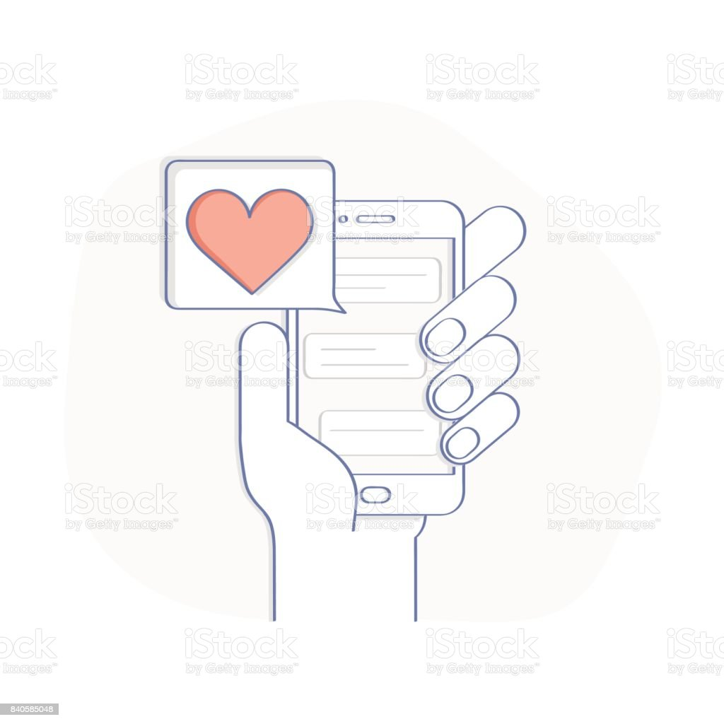 Like and love icon notification in the bubble over mobile phone. vector art illustration