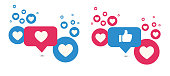 istock Like and Love icons. Thumbs up and heart, social media icon. Vector illustration. 1240075147