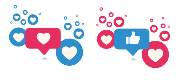 Like and Love icons. Thumbs up and heart, social media icon. Vector illustration. Like and Love icons. Thumbs up and heart, social media icon. Vector illustration. social issues stock illustrations