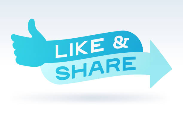 Like and Share Social Media Engagement Message Like & Share social media interaction and engagement concept illustration. imitation stock illustrations