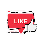 Like button icon for social media. Thumbs Up icon button Vector illustration design template. Like icon or button for video channel, blog, social media and background banner