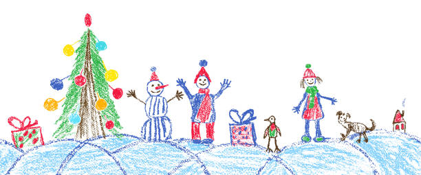 Like child hand drawing christmas space plaza. Crayon, pastel chalk or pencil hand drawing funny sketch doodle tree, ball, snowman, kid, boy, girl, gift box, snow, hut. Vector background area style. christmas drawings stock illustrations