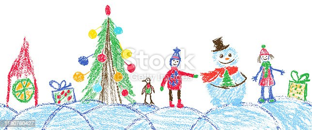 Crayon, pastel chalk or pencil funny sketch doodle tree, ball, snowman, kid, boy, gift box, snow, hut. Vector background simple style.