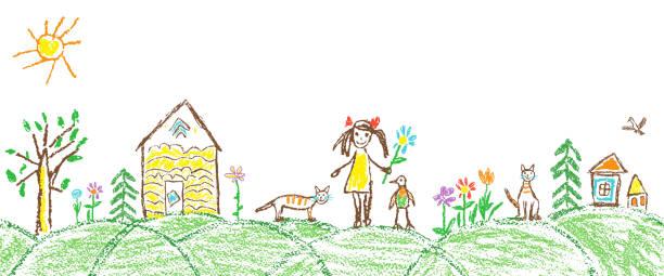 çocuk el çizim yaz bahçe köyü gibi. crayon, pastel tebeşir veya kalem basit komik kroki doodle kız, ev, kedi, çocuk, ağaç, çiçek, çayır, kulübe. - kids drawing stock illustrations