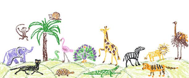 like child hand drawn wild animals set. kid`s crayon giraffe, elephant, lion, monkey, zebra, crocodile. - jungle stock illustrations
