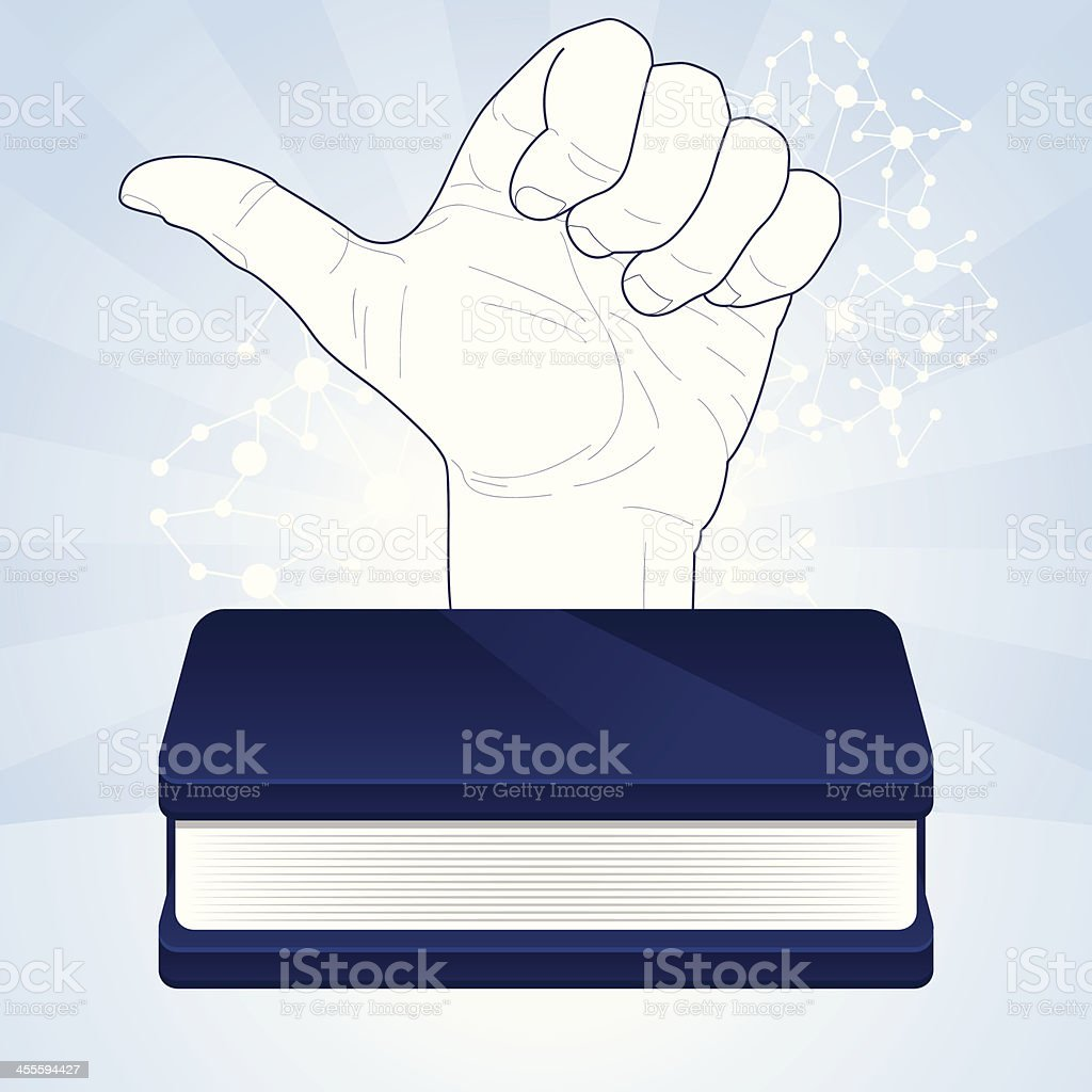 Like coming out from blue book royalty-free stock vector art