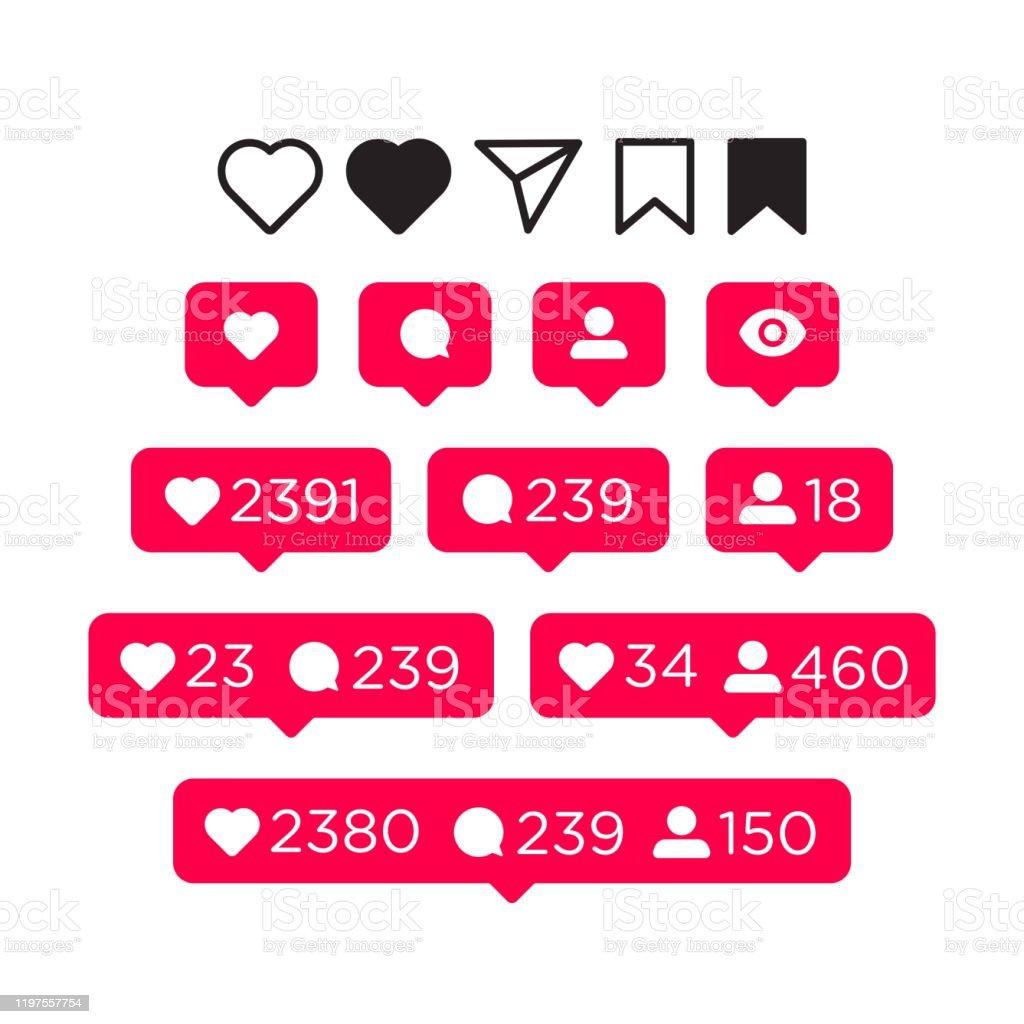 Gilla, kommentera, anhängare och meddelandeikoner set. Sociala medier koncept för Interface. Vektor illustration isolerad på vit bakgrund - Royaltyfri Abstrakt vektorgrafik