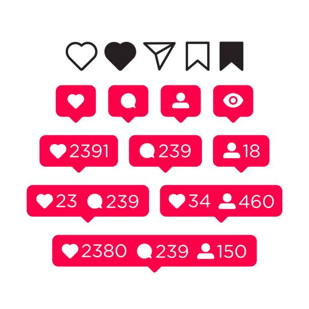 Like, comment, follower and notification Icons set. Social Media concept for interface. Vector illustration isolated on white background Like, comment, follower and notification Icons set. Social Media concept for interface. Vector illustration isolated on white background auto post production filter stock illustrations