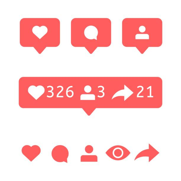 Like, comment user, view, follower repost. Social media icons. Like, comment, user, view, follower, repost. Social media icons Vector notification Bubble message Flat interface notice like button stock illustrations