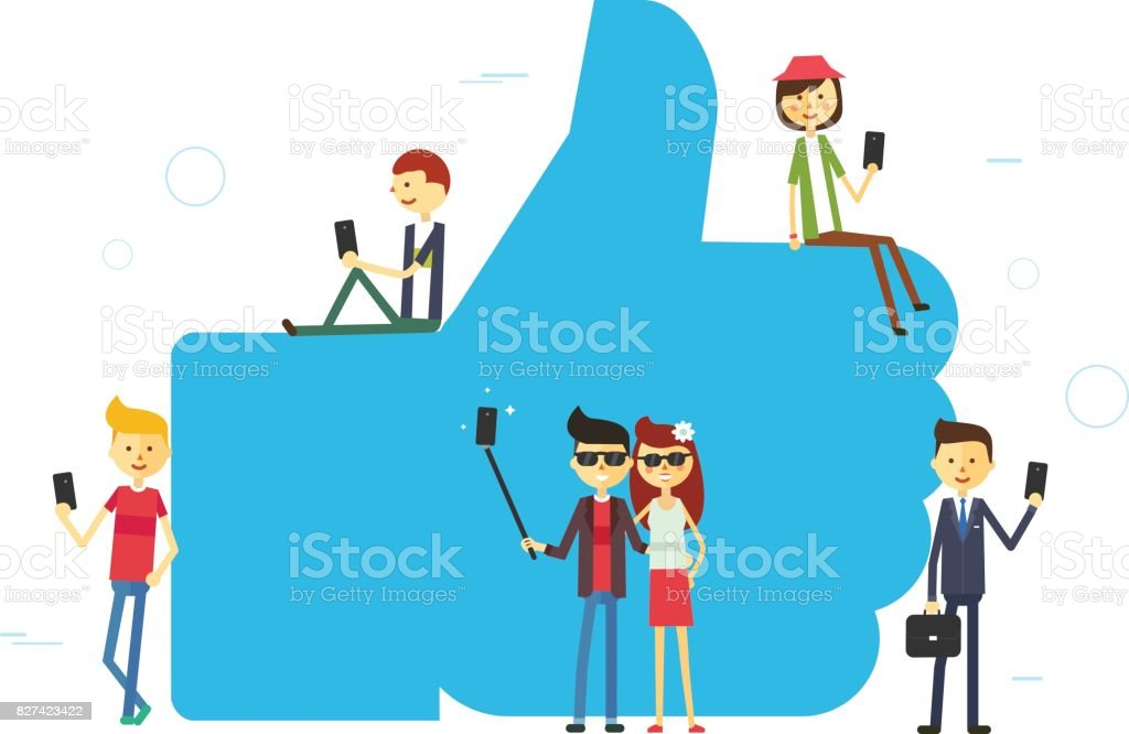 Like concept illustration of young people using mobile tablet and smartphone vector art illustration