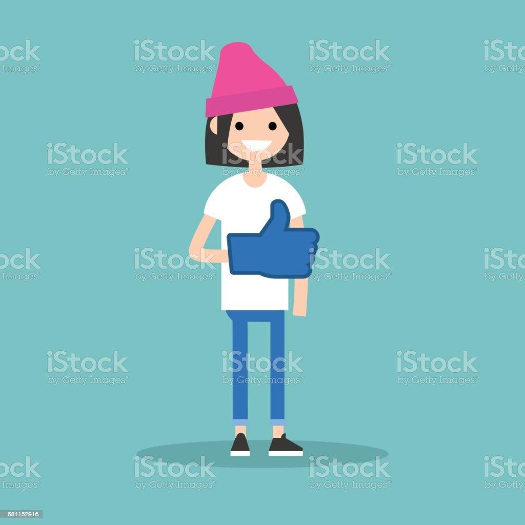Als concept. Tienermeisje dragen van schuim vinger / bewerkbare flat vector illustratie royalty free als concept tienermeisje dragen van schuim vinger bewerkbare flat vector illustratie stockvectorkunst en meer beelden van advies