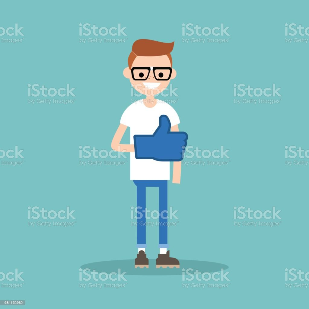 Like concept. Teenage nerd boy wearing foam finger / editable flat vector illustration like concept teenage nerd boy wearing foam finger editable flat vector illustration - stockowe grafiki wektorowe i więcej obrazów aprobować royalty-free