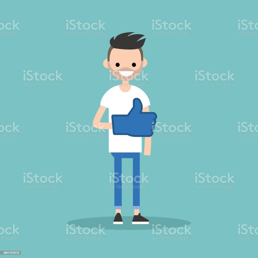 Like concept. Young bearded man wearing foam finger / editable flat vector illustration like concept young bearded man wearing foam finger editable flat vector illustration - immagini vettoriali stock e altre immagini di abbigliamento casual royalty-free