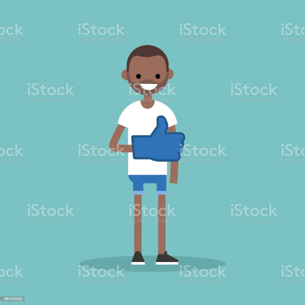 Like concept. Young black man wearing foam finger / editable flat vector illustration like concept young black man wearing foam finger editable flat vector illustration - immagini vettoriali stock e altre immagini di abbigliamento casual royalty-free