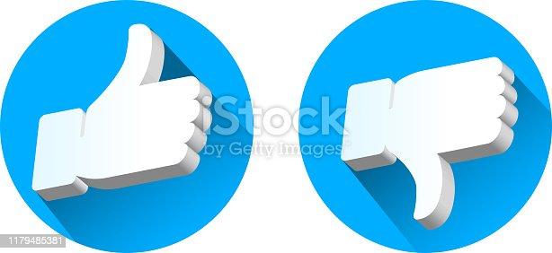 like dislike button set three dimensional
