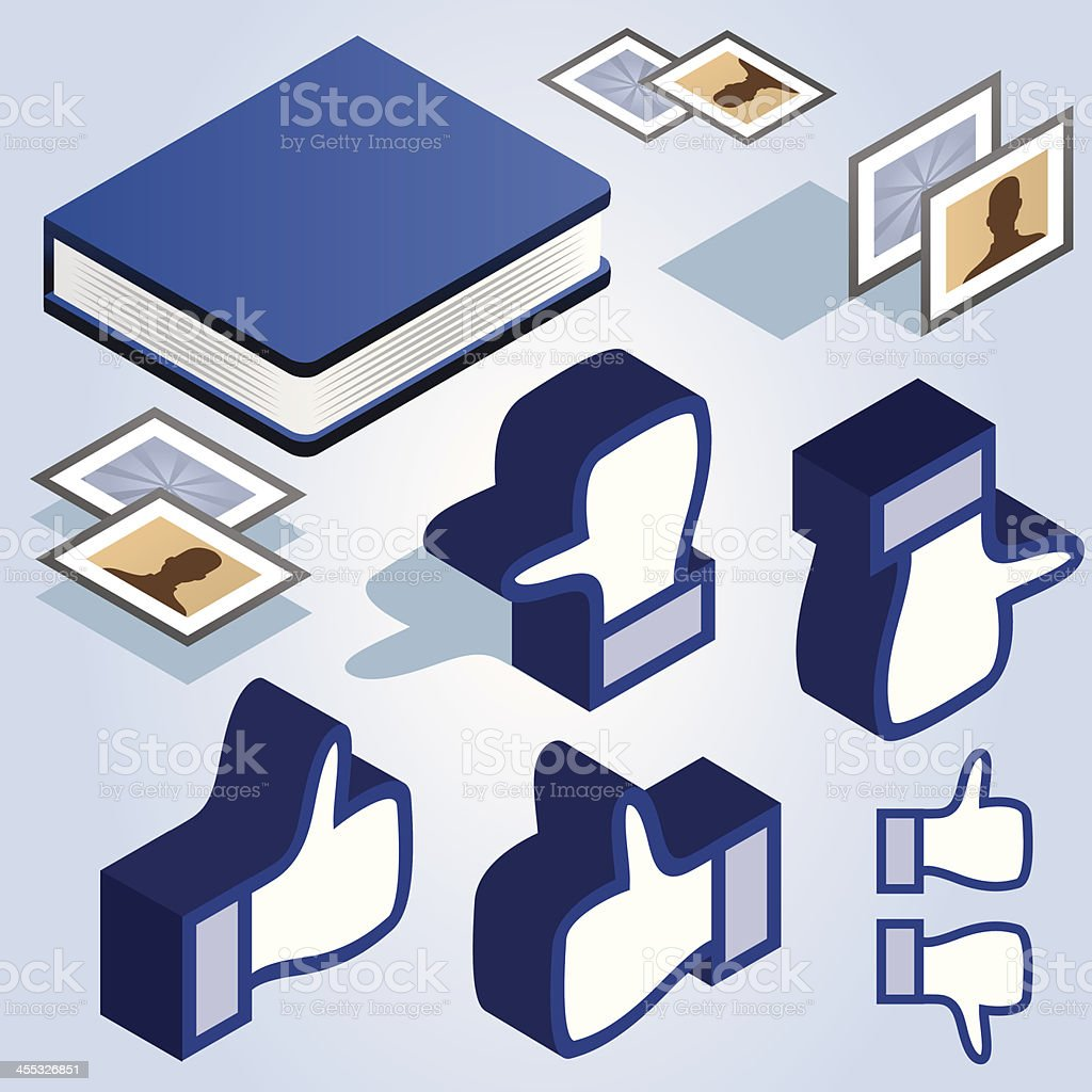 Like elements set with book royalty-free stock vector art