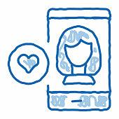 istock Like Female Avatar doodle icon hand drawn illustration 1315115024