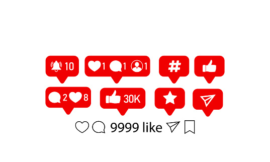 Like, follower, comment icons. Vector illustration. Vector on isolated white background. EPS 10