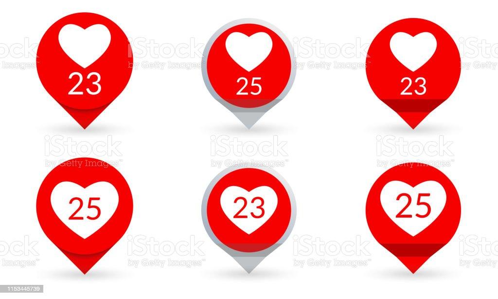 Like Heart icon set. Social media button. Like counter notification....