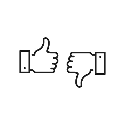 Like icon and dislike. Thumbs up and thumbs down. Black color. Modern concept. Linear stroke style. Simple stroke outline thin line design. Vector icons set