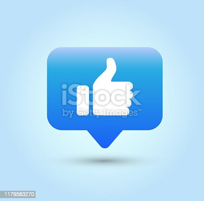 Like icon on blue background.
