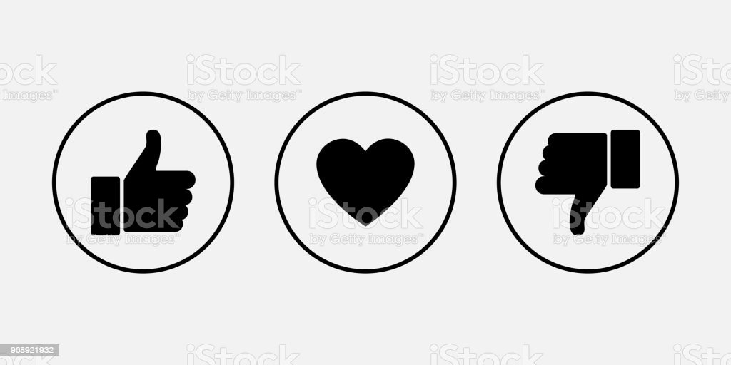 Like icons. Thumb up and down with heart, vector icons