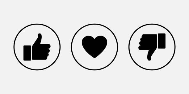 illustrazioni stock, clip art, cartoni animati e icone di tendenza di like icons. thumb up and down with heart, vector icons - like
