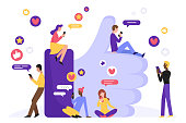 Like in social media character concept flat vector illustration. Man and woman with smartphone near large hand symbol. Modern internet network community background with people, heart, message, star