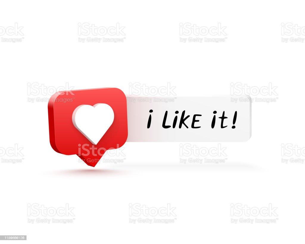 I like it. 3d heart like social network. white background. Vector...