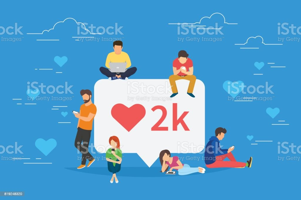 I like it social media bubble with red heart symbol vector art illustration