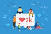 I like it social media bubble with red heart symbol