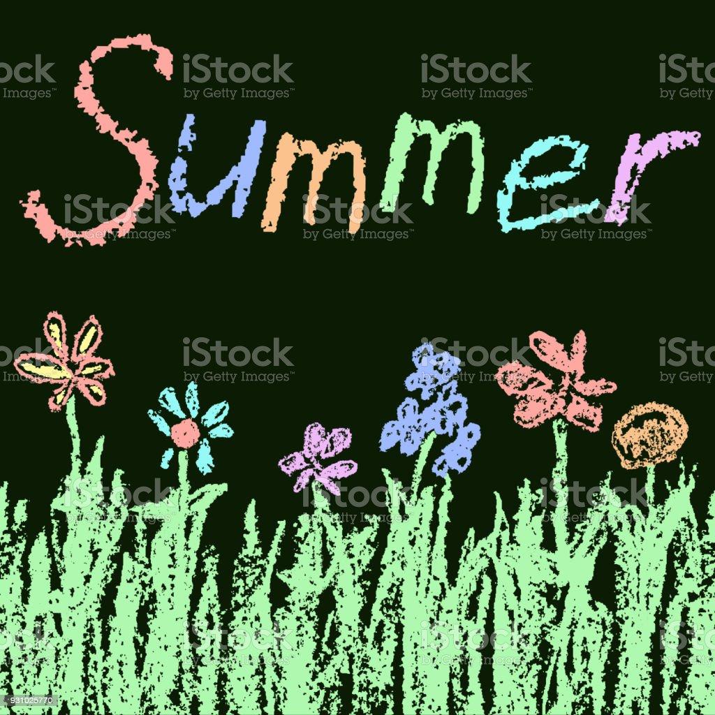 Wie Kinder Gezeichneten Spaß Kreide Abbildung Mit Sommer Grünem ...