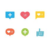 Like Love Counter Notification Icons Flat Design