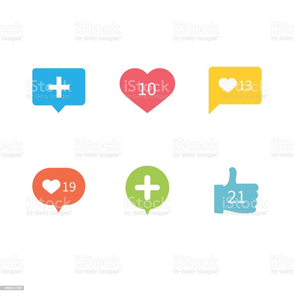 Like Love Counter Notification Icons Flat Design vector art illustration