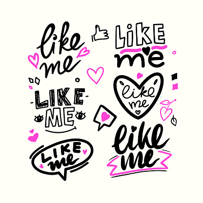 Like Me Hand Drawn Style Font, Social Media Themed Typography with Hearts and Thumb Up Isolated in White Background