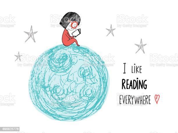 Like reading everywhere little girl reading in the moon hand drawn vector id695625778?b=1&k=6&m=695625778&s=612x612&h=41hq5z24pqr3uiyeovfghfcodsyyspojtg9zjphnztg=