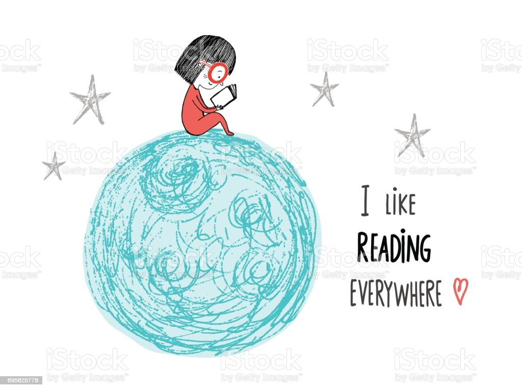 I like reading everywhere. Little girl reading in the Moon. Hand drawn vector illustration. - illustrazione arte vettoriale