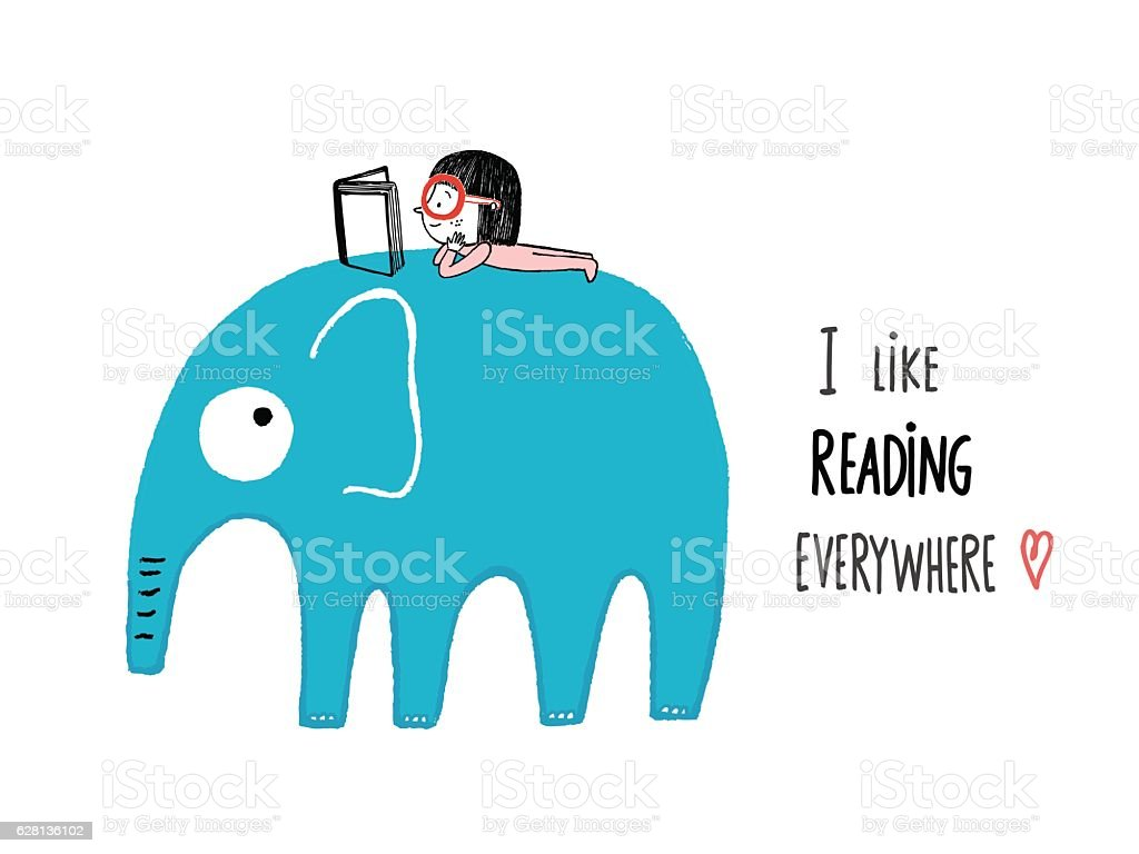 I Like Reading Everywhere vector art illustration