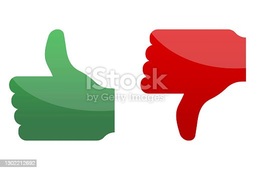 istock Like red green. Success concept. Illustration icon. Button with like red green on red background. Stock image. EPS 10. 1302212692